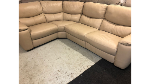 Flex Nude Cream Real Leather Corner Sofa