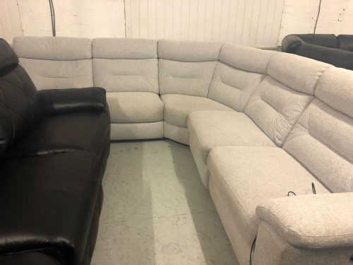 Natural Plain Fabric Corner Sofa