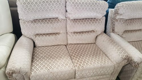 Cream Patterned Fabric High Back Suite