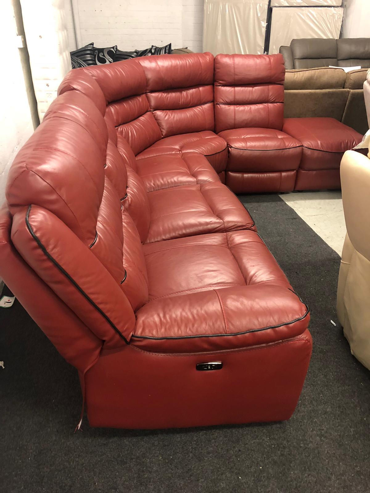 Nesso Deep Red Real Leather Corner Sofa Sofa Zone
