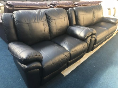 Jupiter Black Real Leather Suite