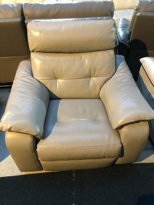 Lush Light Grey Real Leather Armchair