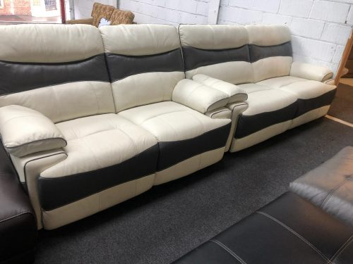 Williams Grey/White Real Leather Suite
