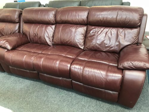 Moreno Black Cherry Real Leather Suite