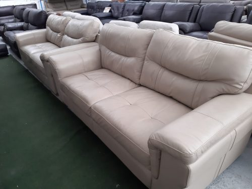 Dayson Beige Real Leather Suite