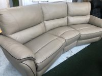 Teo Beige Real Leather Curved 4 Seater Sofa
