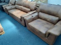 Rowan Antique Brown Real Leather Suite